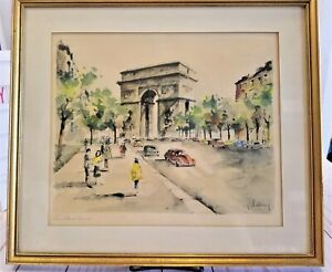 Gorgeous! G. Lelong Hand Colored Watercolor Lithograph Arc De Triomphe Paris