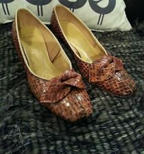 Vtg 40's Italy Genuine Auth Cobra Snakeskin Pinup Heels Pumps Shoes 6