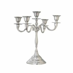 5 arm Silver Chrome  Metal Candle holder /Home decor /Wedding /Candelabra