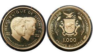 1000 Francs Guinéens Guinea 🇬🇳  Gold Proof Coin John and Robert Kennedy # 17