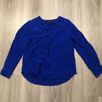 J Crew Womens Size 10P Blue Silk Blouse Long Sleeve Top