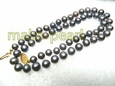 """Genuine Natural 7-7.5mm Round Lavender Gray Akoya Pearls Necklace 17"""""""