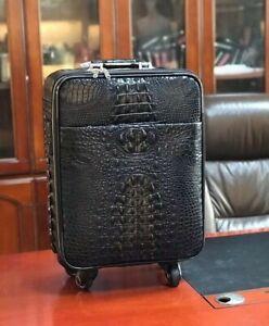 Leather Luggage Bag Genuine Crocodile Skin Travel Suitecase 20 inch Black