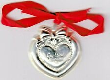 1996 REED & BARTON .925 STERLING SILVER OUR FIRST CHRISTMAS ORNAMENT BID AND OWN
