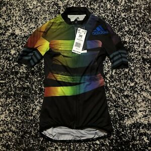 Adidas Cycling Jersey Adistar Pride Biking Top Full Zip FJ6570 LGBTQ 2XS NWT