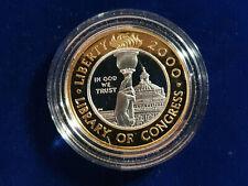 🌟2000-W LIBRARY OF CONGRESS PROOF $10.00 GOLD & PLATINUM BIMETALLIC COIN
