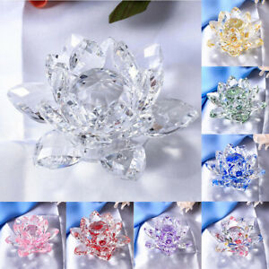 Glass Lotus Flower Buddhism Feng Shui Ornaments Collection Party Decoration