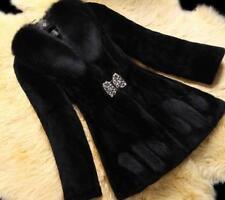 Warm Womens Slim Fit Fur Winter Elegant Overcoat Lady Mid Long Parka Coat NEW SZ