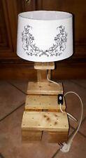 Superbe lampe de chevet/de table luminaire vintage fait avec bois de palette n°7