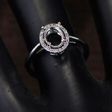 5x7mm Oval Cut Solid 14K 585 White Gold Semi Mount Natural Diamond Ring