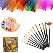 12Pcs Professional Artist Soft Paint Brush Set Oil Acrylic Watercolour Art New
