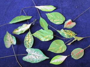 "Vtg Millinery Flower Collection Tropical Leaf Foliage Green Fabric 4-7"" Y308C"