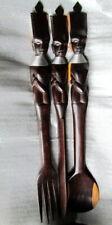 1950's Vintage African Carved Tribal Art Large Wooden Spoon Knife & Fork