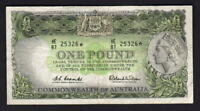 Australia R-34bS. (1961) Coombs/Wilson - One Pound STAR NOTE.. Prefix HE/87.. gF