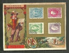 Mexico Postman costume coat of arms stamps 1880s