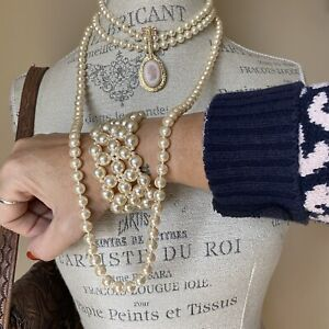 Vintage Prairie Boho Banjo Jazz Brooch Necklace Brooch Bracelet Jewelry Lot Set