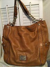 Michael Kors Whiskey Brown Soft Leather Hobo Shoulder Handbag Gold Chain Straps