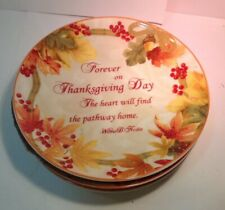 Autumn Celebration Thanksgiving Day Set Of 4 Scripted Appetizer Plates New