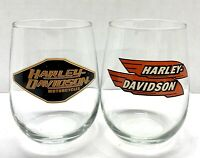 Harley-Davidson® Vintage Logo Stemless Wine Glass Set Of 2 Retro