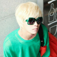 Mens Short Handsome Straight Cosplay Party Hair Full Wig Platinum Blonde Gifts
