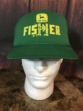 John Deere Snapback Trucker Hat Vintage Cap 80s Fisher Green Retro Farm