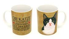 SCHWARZ-WEISSE KATZE KAFFEEBECHER MIT MOTIV 0,3 L TASSE BECHER KATZE CAT 75