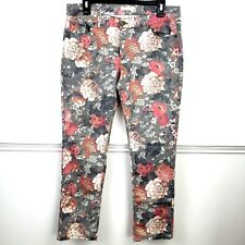 New York & Co. Stretch Jeans Ankle Pants Gray Floral Size 8