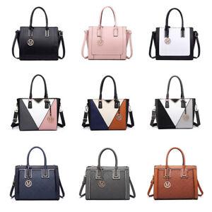 Women Designer PU Leather Handle Handbag Ladies Shoulder Tote Bag Satchel