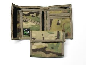 Multi Cam Military Camo Nylon Billfold Wallet with Coin Pocket-- Made in USA