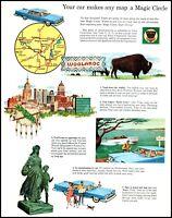 1959 Ethyl gas car boat buffalo Tulsa map Woolaroc vintage art Print Ad adL25