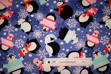 Bundled Penguins Snowflakes Hats Sweaters Winter Flannel Fabric  BTY   (J10)  +