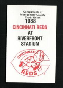 Cincinnati Reds--1988 Pocket Schedule--Montgomery County Credit Union