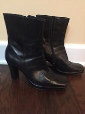Nine & Co. Soft Black Leather Ankle Boots w/Square Toe Sz 6.5- Good Condition