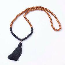 Yoga Meditation Mala Prayer Rosary Beads Buddhist Wood & Black Stone Necklace UK