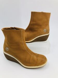 Timberland Suede Ankle Wedge Leather Boots Slip On Side Zip Tan Women Size 7