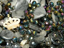 NEW 6/oz of BLACKS 6mm-15 MIXED LOOSE BEADS LOT GEM, Stone, Glass, Pearl