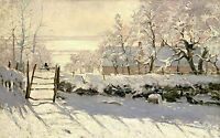 Nice Oil painting Claude Monet - Bird The Magpie in the winter landscape canvas