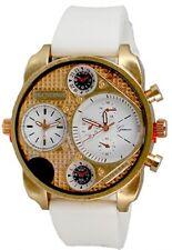 Dual Time White Rose Gold Watch Rubber Mens Geneva Fashion Designer