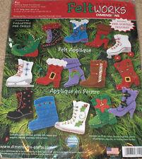 "Dimensions ""Holiday Boots"" Felt / Jeweled Christmas Ornaments (15) Kit NIP"