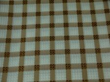 NEW TARA CHECK 180 CM ROUND WHITE & BRONZE BROWN TABLECLOTH EASY CARE SPECIAL