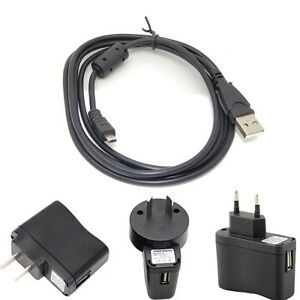 USB AC/DC Power Adapter Battery Charger+PC Cord For Sanyo Xacti VPC-T1496 Camera
