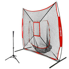 7'×7' Baseball Practice Net W/Strike Zone + Portable Batting Tee Training W/Bag