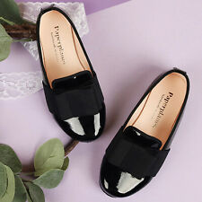 Girl Lady Dress Shoes Black Colour Ribbon Elegant CuteNewSize Comfort Shiny 9013