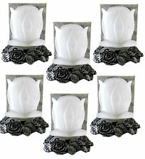 Metal Roses Base Tealight Candle Holder Frosted Rose Flower Glass Shade Lot of 6
