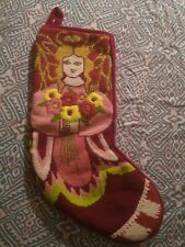 Vintage?  Needlepoint Stocking Angel with wings and halo holding flowers