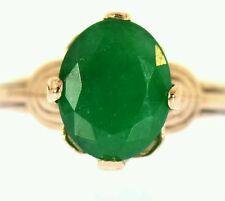 2 CT EMERALD SOLITAIRE RING ROSE GOLD VINTAGE NATURAL GREEN OVAL CUT RING