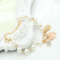 Women Fashion Elegant Simple Pearl Crystal Heart Golden Chain Bracelet Bangle