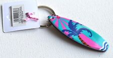NEW Pink and blue palm tree plastic surfboard keyring summer