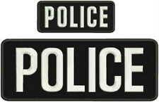 Police embroidery patches 4x10 and 2x5 hook on back letters white