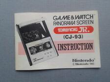 NINTENDO GAME&WATCH PANORAMA DONKEY KONG JR. CJ-93 ORIGINAL ENGLISH MANUAL